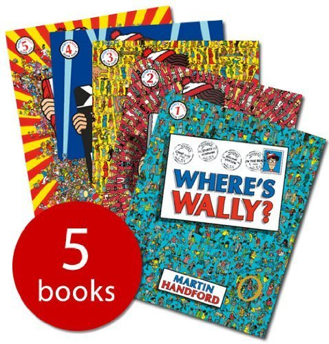 Where's Wally? Books: 5 Large Picture Books and 1 Sticker Book (Where's Wally? / Where's Wally Now? / Where's Wally? The Fantastic Journey / Where's Wally? The Wonder Book / Where's Wally? In Hollywood)