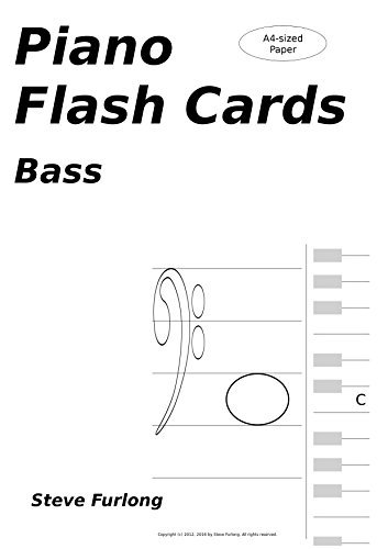Piano Flash Cards: Bass Notes for A4 Paper