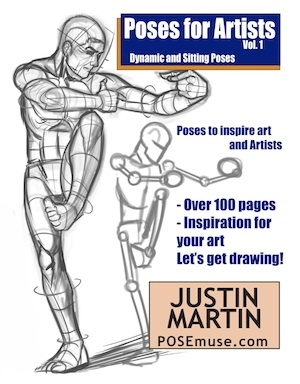Poses for Artists Volume 1 - Dynamic and Sitting Poses: An