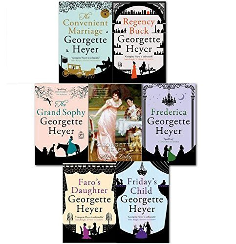 Georgette Heyer Collection 7 Books Set: Faro's Daughter / Frederica / Convenient Marriage / Regency Buck / Friday's Child / Grand Sophy / April Lady