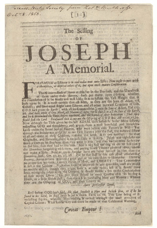 the selling of joseph a memorial