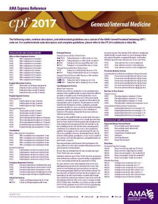CPT 2017 Express Reference Coding Card General/Internal Medicine