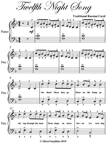 Twelfth Night Song Easy Piano Sheet Music