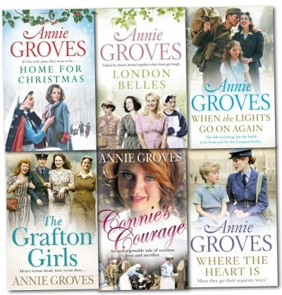 Annie Groves 6 Books Collection Set- Connies courage, London Belles, When the Light Go On Again, Home for Christmas, The Grafton Girls, Where the Heart Is