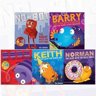 Sue Hendra Collection 5 Books Bundle (No-Bot, the Robot with No Bottom,Barry the Fish with Fingers and the Hairy Scary Monster,Doug the Bug,Norman the Slug with a Silly Shell[Board book],Keith the Cat with the Magic Hat[Board book])