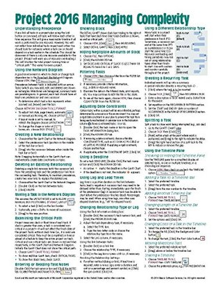 Microsoft Project 2016 Quick Reference Guide Managing Complexity - Windows Version