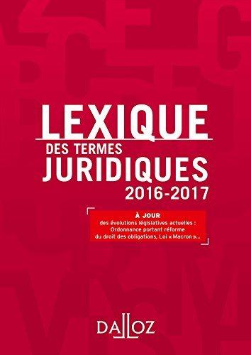 Lexique des termes juridiques 2016-2017