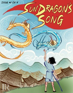 Book cover showing flying dragons.