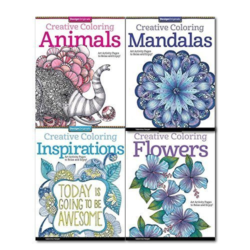 Creative Coloring Collection 4 Books Set By Valentina Harper, (Art Activity Pages to Relax and Enjoy).