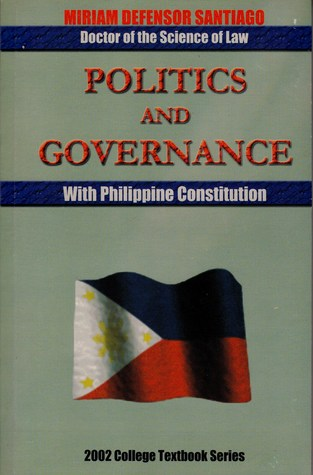 politics and governance with philippine constitution The philippine governance and the 1987 constitution by lazo for college book, political science published by rex book store.