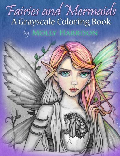 Fairies and Mermaids: A Grayscale Coloring Book