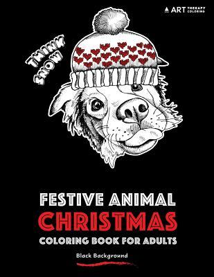 Festive Animal Christmas Coloring Book for Adults: Black Background