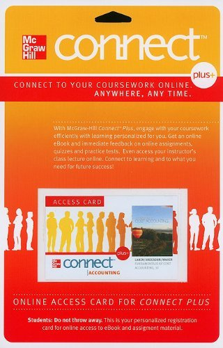 Connect Access Card for Fundamentals of Cost Accounting (McGraw Hill Connect