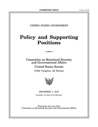 2016 United States Government Policy and Supporting Positions (Plum Book)