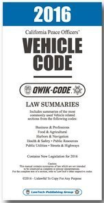 2016 CALIFORNIA VEHICLE CODE - QWIK-CODE