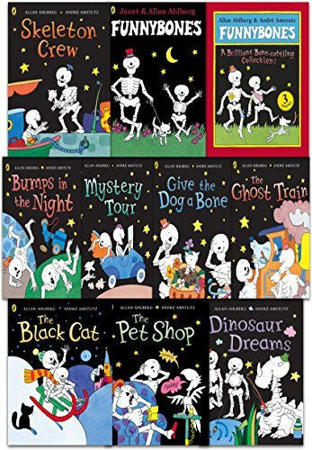Funny Bones 10 Books Collection Set (Funnybones: A Bone Rattling Collection, The Ghost Train, The Pet Shop, Dinosaur Dreams, Bumps in the Night, Skeleton Crew, Mystery Tour, The Black Cat, Give the Dog a Bone, Funnybones)