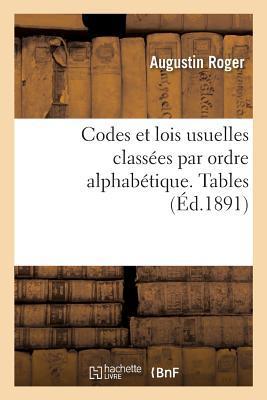 Codes Et Lois Usuelles Classa(c)Es Par Ordre Alphaba(c)Tique. Tables