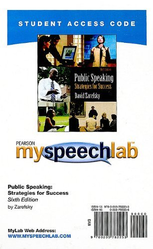 MySpeechLab -- Standalone Access Card -- for Public Speaking (6th Edition) (Myspeechlab (Access Codes))