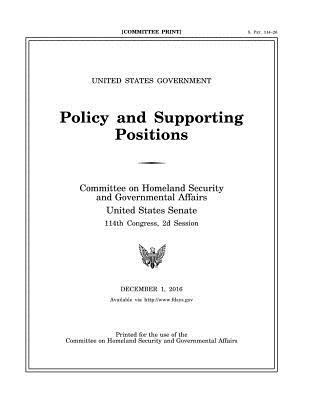 United States Government Policy and Supporting Positions, December 1, 2016 (Plum Book)