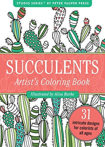 Succulents Portable Adult Coloring Book