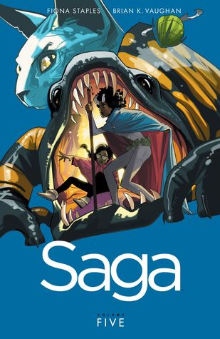 book cover for volume five of Saga
