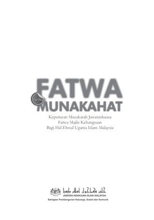 Fatwa Isu-Isu Munakahat: Keputusan Muzakarah Jawatankuasa Fatwa Majlis Kebangsaan Bagi Hal Ehwal Ugama Islam Malaysia (ePUB)