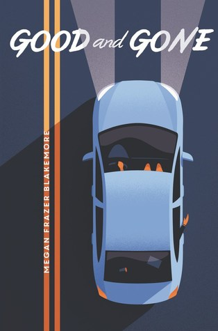 Book cover: an illustration of a light blue sedan is viewed from overhead, headlights on, with a double yellow lane divider to its left
