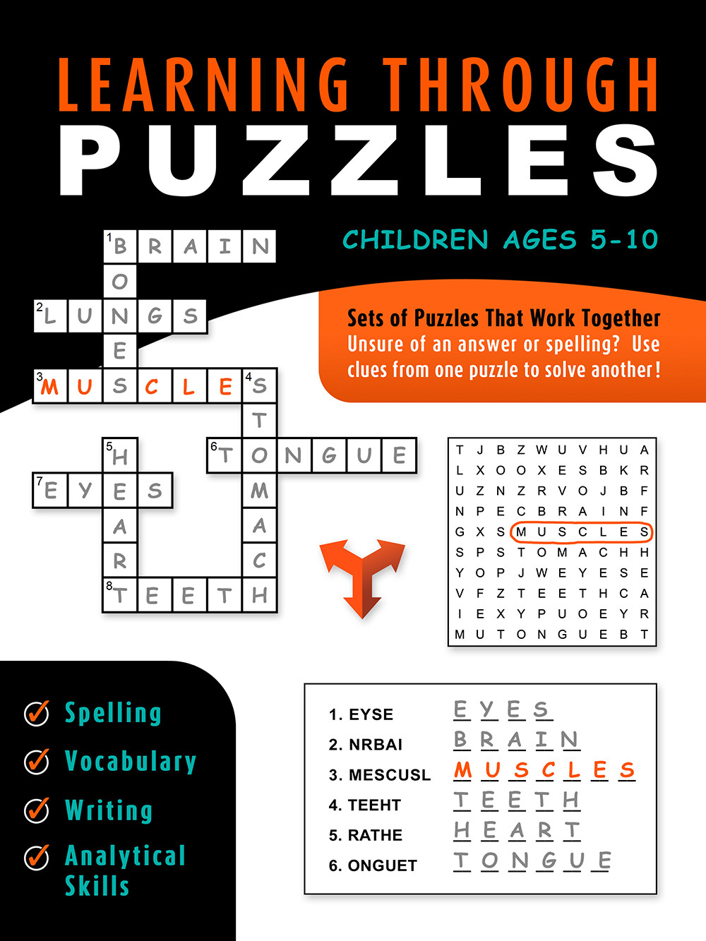 Learning Through Puzzles: A Children's Activity Book with a Problem Solving Twist - Featuring Crossword Puzzles, Word Searches & Word Scrambles