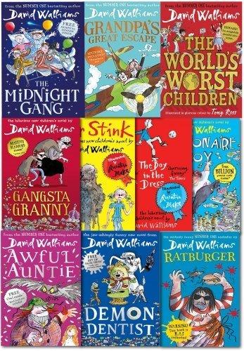 David Walliams 10 Books Collection: The Midnight Gang / Grandpa's Great Escape / The World's Worst Children / Gangsta Granny / Mr Stink / The Boy in the Dress / Billionaire Boy / Awful Auntie / Demon Dentist / Ratburger