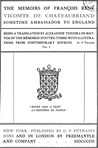 The memoirs of François René, vicomte de Chateaubriand, sometime ambassador to England, Volume 1 of 6