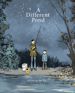 Illustrated book cover of author and father near a pond.