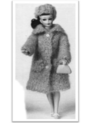 #1715 BARBIE MOHAIR COAT AND HAT VINTAGE KNITTING PATTERN