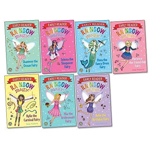 Rainbow Magic Early Reader pack, 7 books, RRP £34.93 (Shannon the Ocean Fairy; Mia the Bridesmaid Fairy; Selena the Sleepover Fairy; Belle The Birthday Reader; Florence the Friendship Fairy; Kylie The Carnival Fairy; Flora The Dressing Up Fairy).