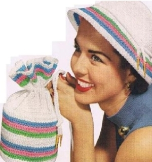 #0821 CANDY STRIP HAT AND BAG VINTAGE CROCHET PATTERN