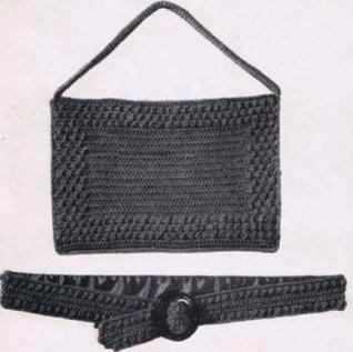 #0934 POPCORN BAG AND BELT VINTAGE CROCHET PATTERN
