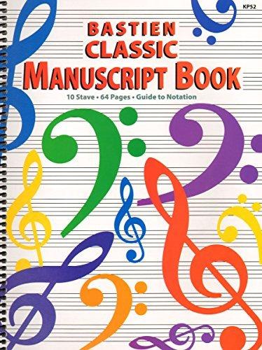 KP52 - Bastien Classic Manuscript Book - 10 Stave 64 Pages