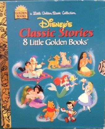 Disney's Classic Stories (8 Little Golden Books): The Lion King, Aladdin, Pocahontas, Pooh, The Little Mermaid, Alice in Wonderland, Pinocchio, and The Hunchback of Notre Dame.
