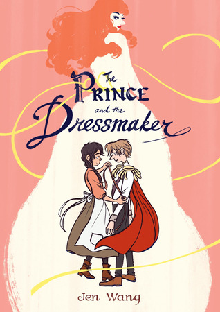 book cover of protagonist's holding hands with an image of the prince's alter ego in a flowing gown in the background