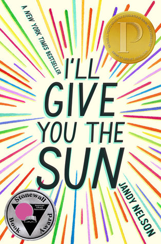 Book cover; Printz and Stonewall awards featured. The title is surrounded by a multicolored starburst pattern of lines