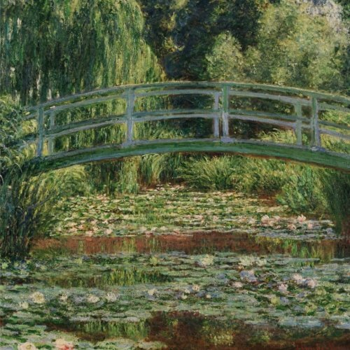 The Japanese footbridge and the water lily pool - Giverny, Claude Monet: Journal; 150 Lined/ruled pages, 8,5 x 8,5 inch (21.59 x 21.59 centimeters) Laminated. (Paper notebook, composition book)
