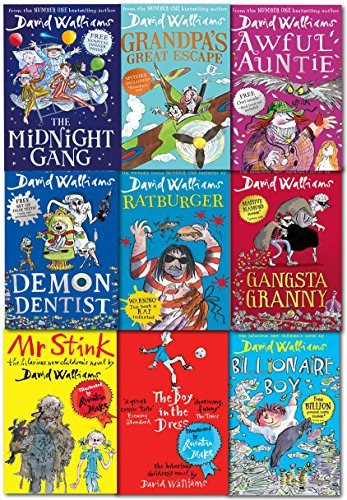 David Walliams 9 Books Collection: The Midnight Gang / Grandpa's Great Escape / Awful Auntie / Demon Dentist / Ratburger / Gansta Granny / Mr Stink / The Boy in the Dress / Billionaire Boy