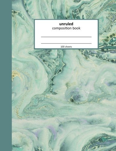 Unruled Composition Notebook: Paperback, Blue Marbled Design 7.44 x 9.69 inches (Volume 3)