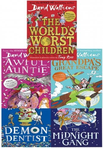 David Walliams 5 Books Collection: The World's Worst Children / Awful Auntie / Grandpa's Great Escape / Demon Dentist / The Midnight Gang
