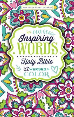 NIV Inspiring Words Holy Bible, Hardcover: 52 Verses to Color