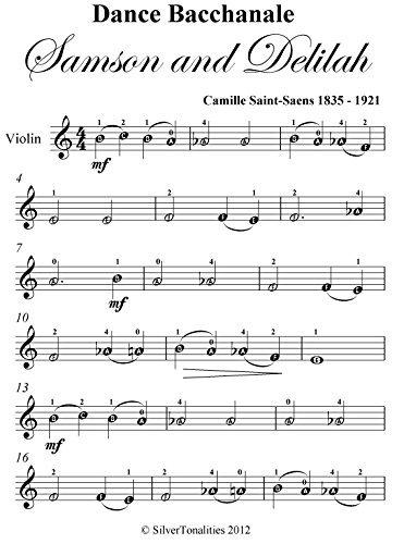 Dance Bacchanale Samson and Delilah Easy Violin Sheet Music