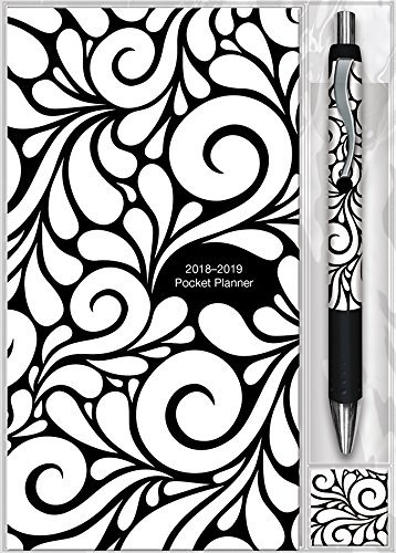 Black & White Swirls 2018 Pocket Planner
