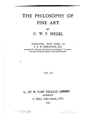 The Philosophy of Fine Art, Vol. 3 of 4