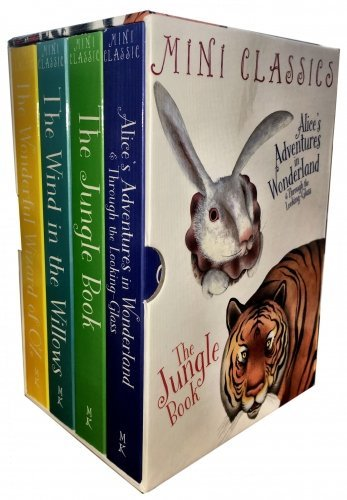 Classics Full Colour - 4 Books Deluxe Edition Box Set - (The Wonderful Wizard Of OZ, Wind In The Willows, Jungle Book, Alice Adventures In Wonderland and Through The Looking Glass)