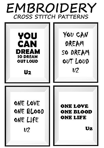 U2 Talking art mini pattern cross stitch counted Famous motivational quotes Modern wall décor One love One blood One life You can dream so dream out loud Rock band Music notes cross stitch pattern