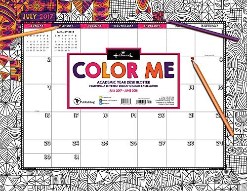 2018 Academic Year Color Me by Hallmark Desk Blotter July 2017-June 2018